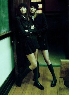 """Campus Beat"" Christy Turlington & Meghan Douglas shot by Steven Meisel for Vogue Italia c"
